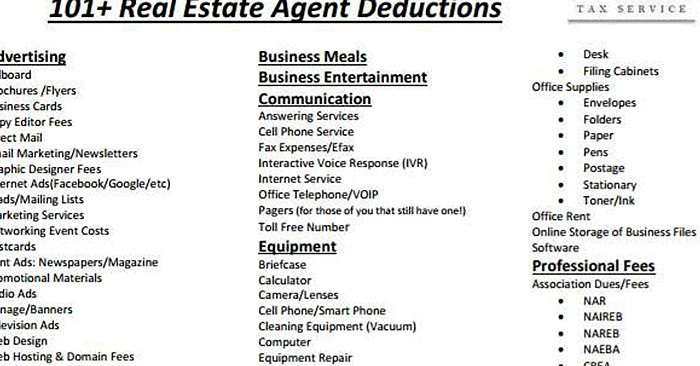 Cheat Sheet Of 100+ Legal Tax Deductions For Real Estate Agents - list of expenses