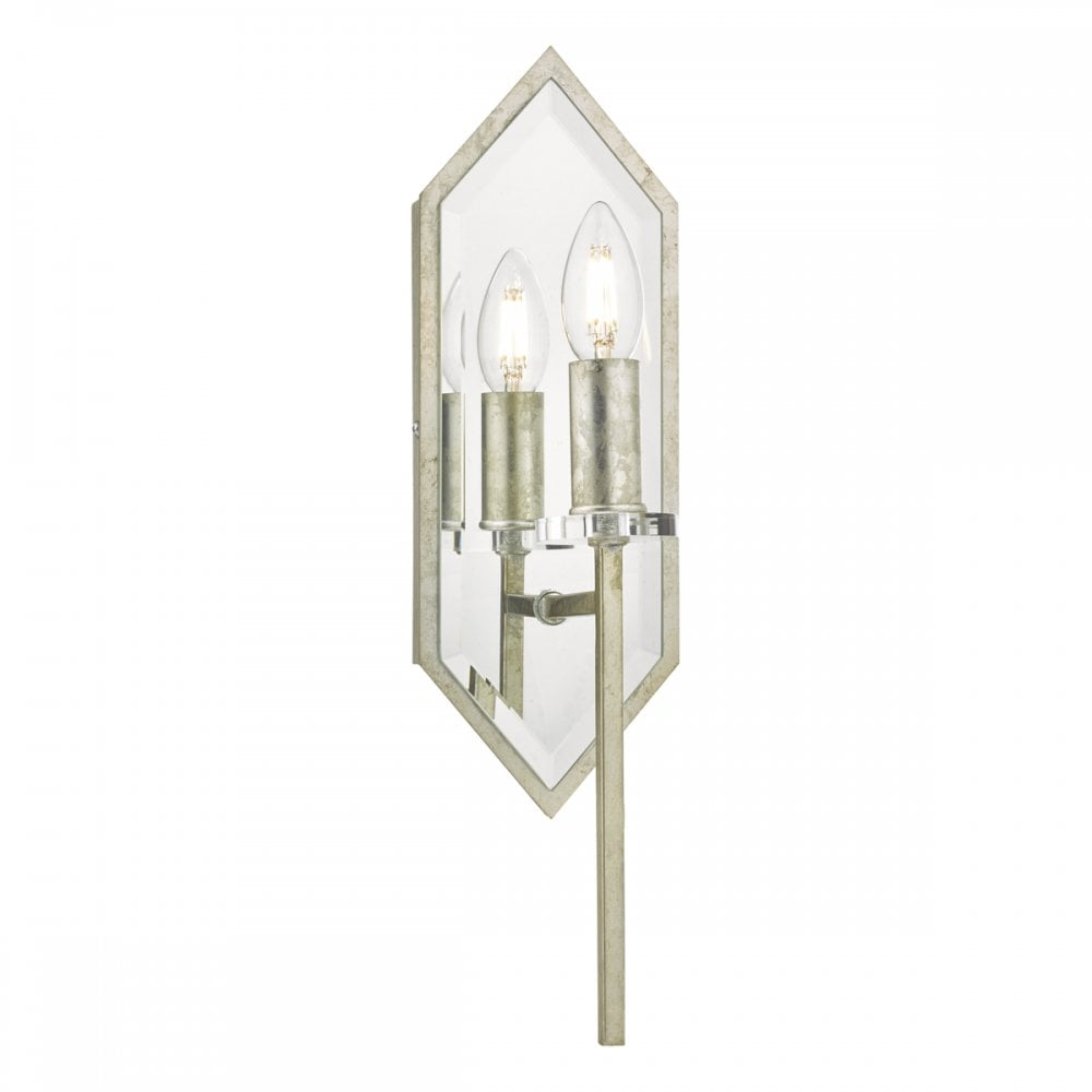 Art Deco Style & Light Jozelle Art Deco Wall Light Mirror Antique Silver With Pull Cord Switch