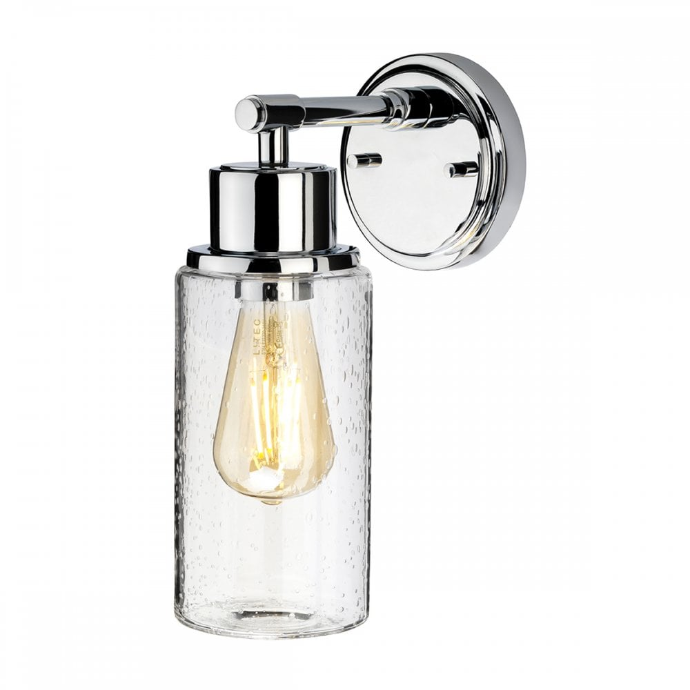 Glass Jar Lamp Shade Bathroom Wall Light Chrome Clear Seed Glass Jar Lighting And Lights Uk
