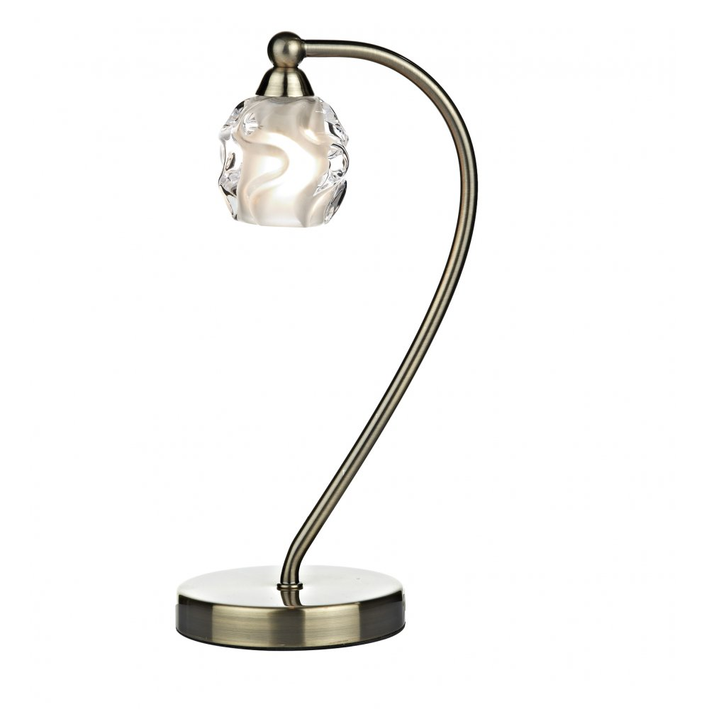 Halogen Table Lamp Seattle Small Modern Halogen Table Light In Antique Brass With Sculptured Glass Shade