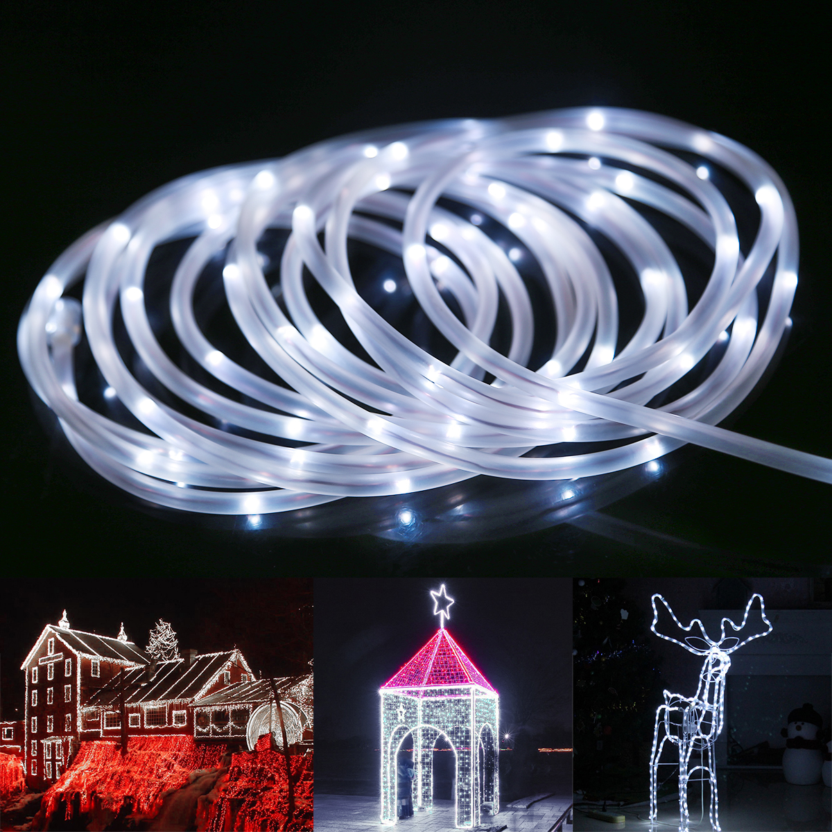 Lighting Ever Top Quality Led Fixtures 33ft Dimmable Led Rope Light Daylight White Christmas