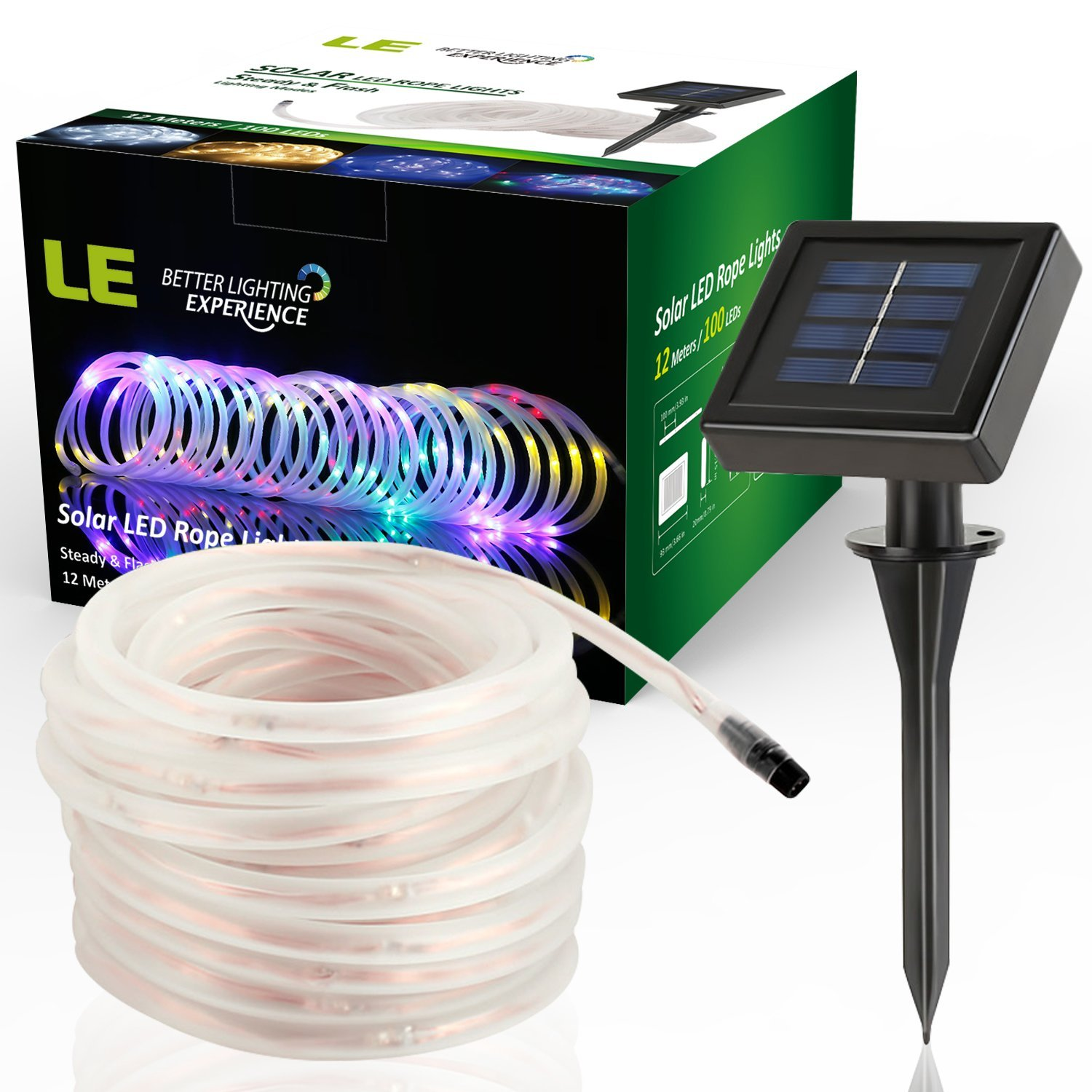 Lighting Ever Top Quality Led Fixtures Multi Color 33ft Solar Rope Lights For Garden Christmas