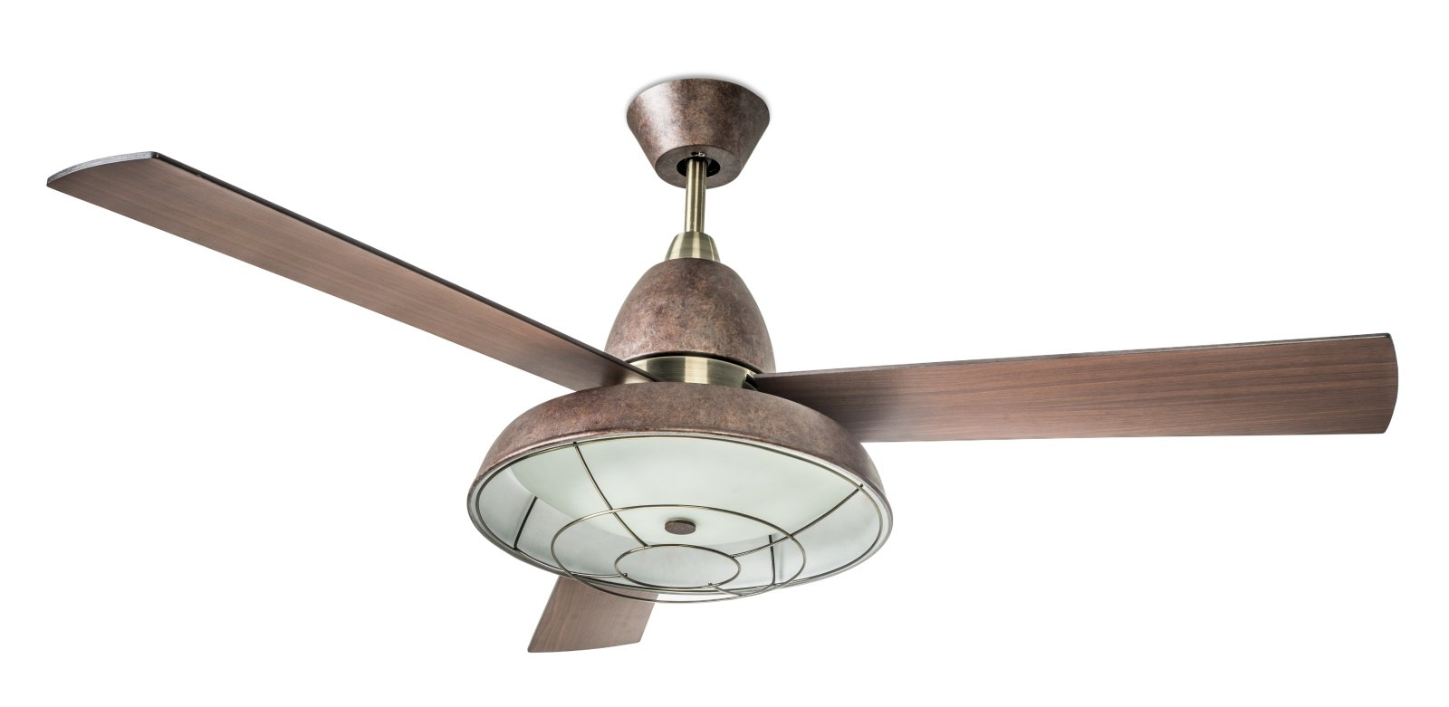 Vintage Looking Fan Retro Ceiling Fan With Caged Light