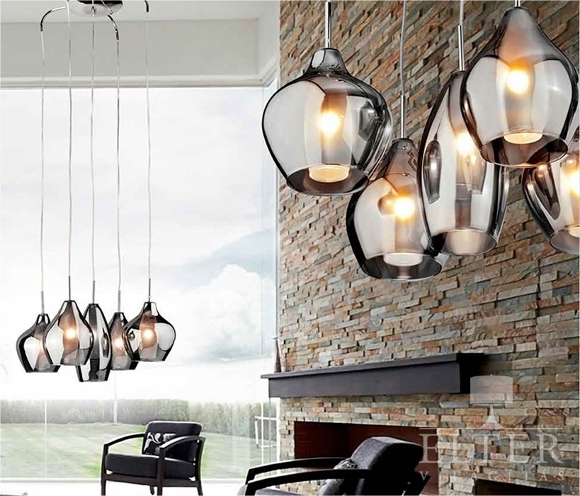 Lighting Lampen Gorgeous Five Light Cluster Pendant With Smoked