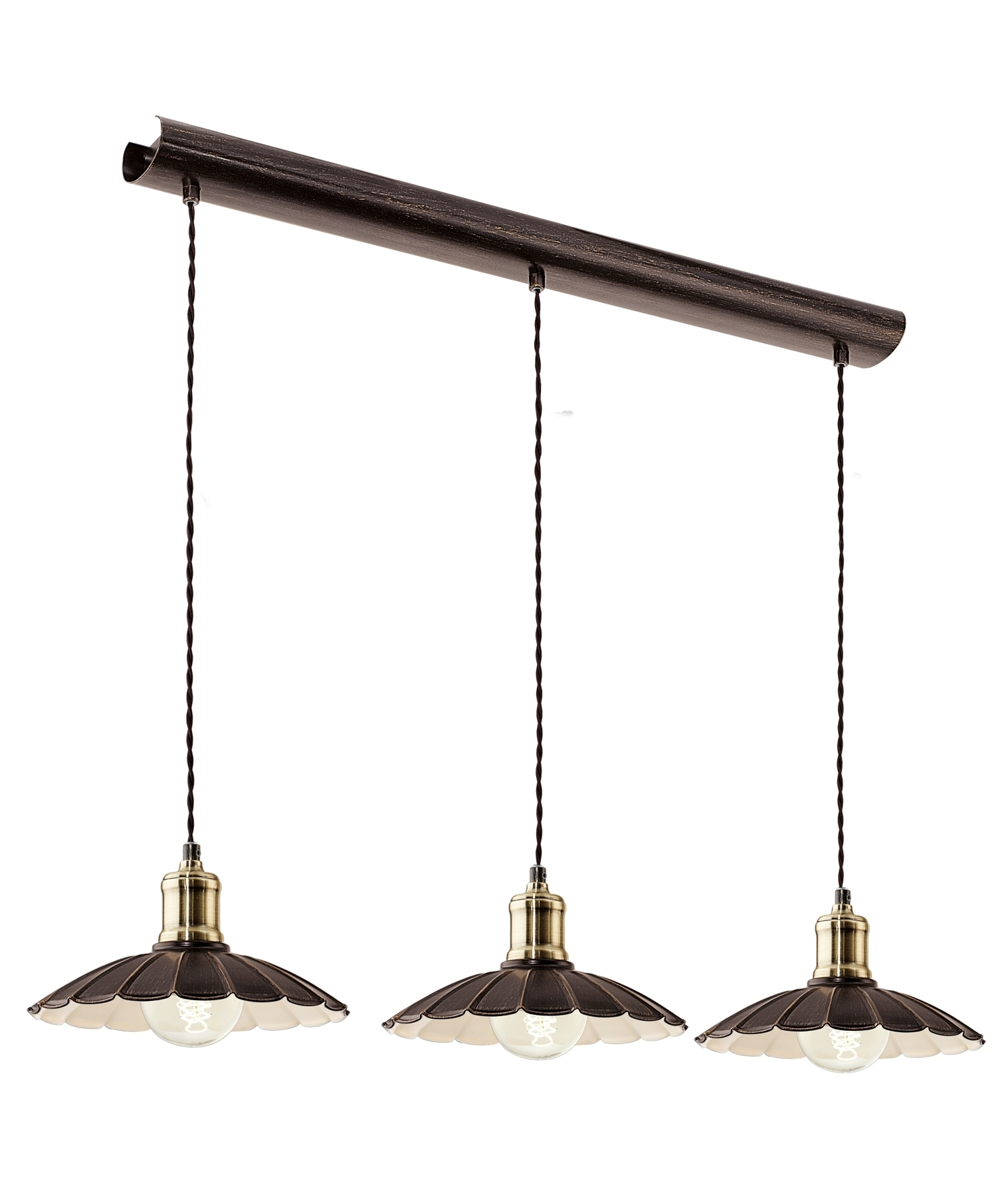 Pendant Bar Lighting French Style 3 Light Pendants With Scalloped Edges