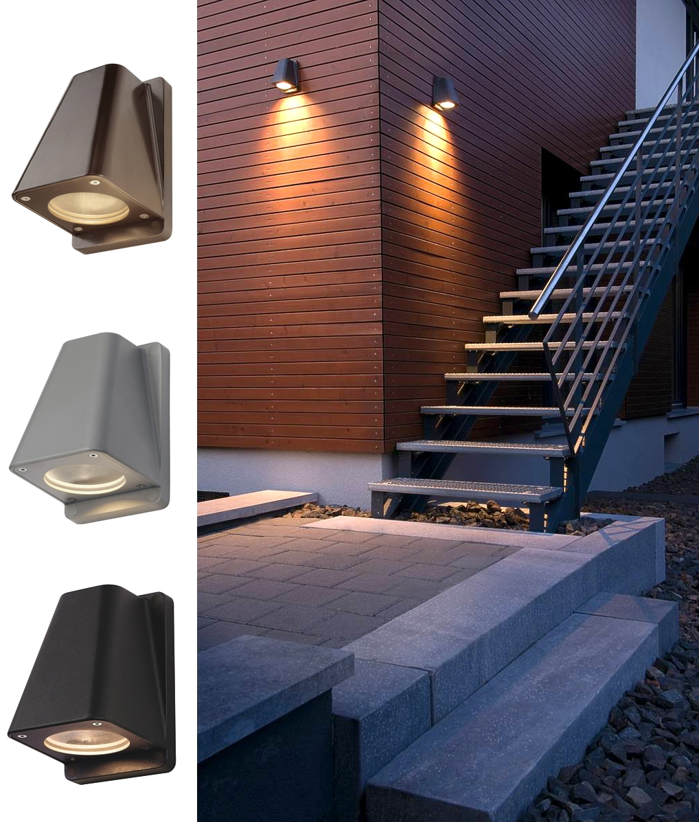 Exterior Low Light Pollution Wall Lights In A Mast Light Design