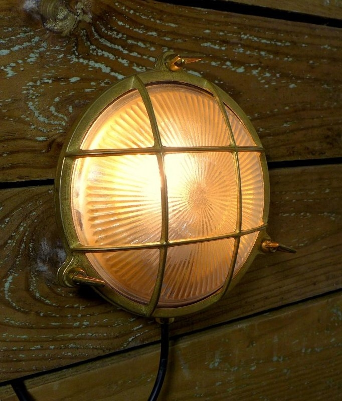 Solar Tubes Marine Brass Bulkhead Wall Light With Caged Detail