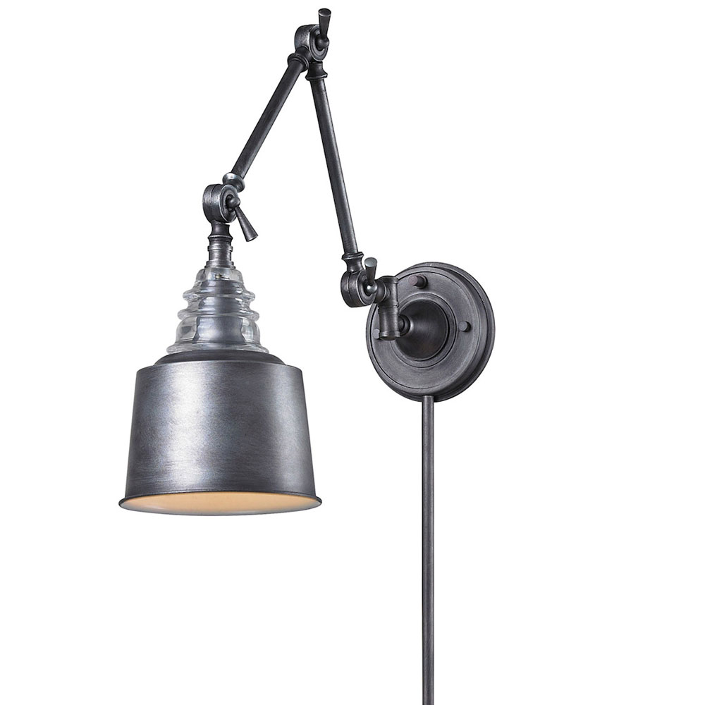 Wall Swing Arm Light Insulator Plug In Swing Arm Wall Sconce By Elk Lighting