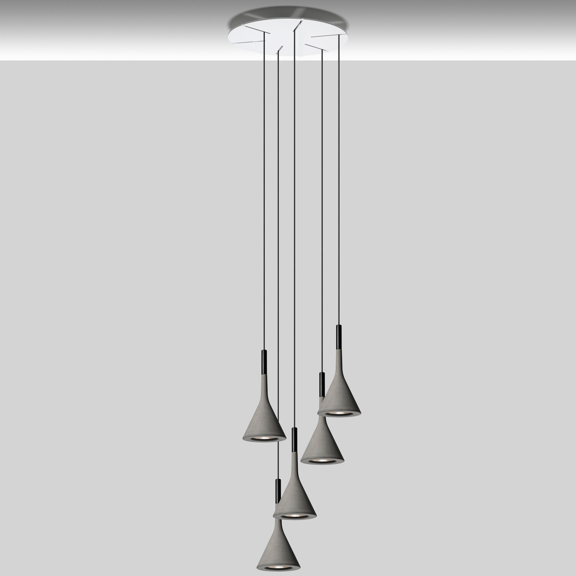 Foscarini Lights Aplomb Round Multi Light Pendant By Foscarini Lc Aplomb Round 5 Gy