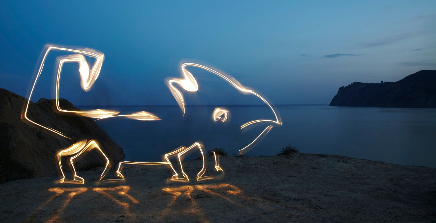 Lightpaint work Invisible being-невидимка