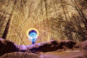 Fire fractals - стальная шерсть, синяя свеча и вращающееся приспособление