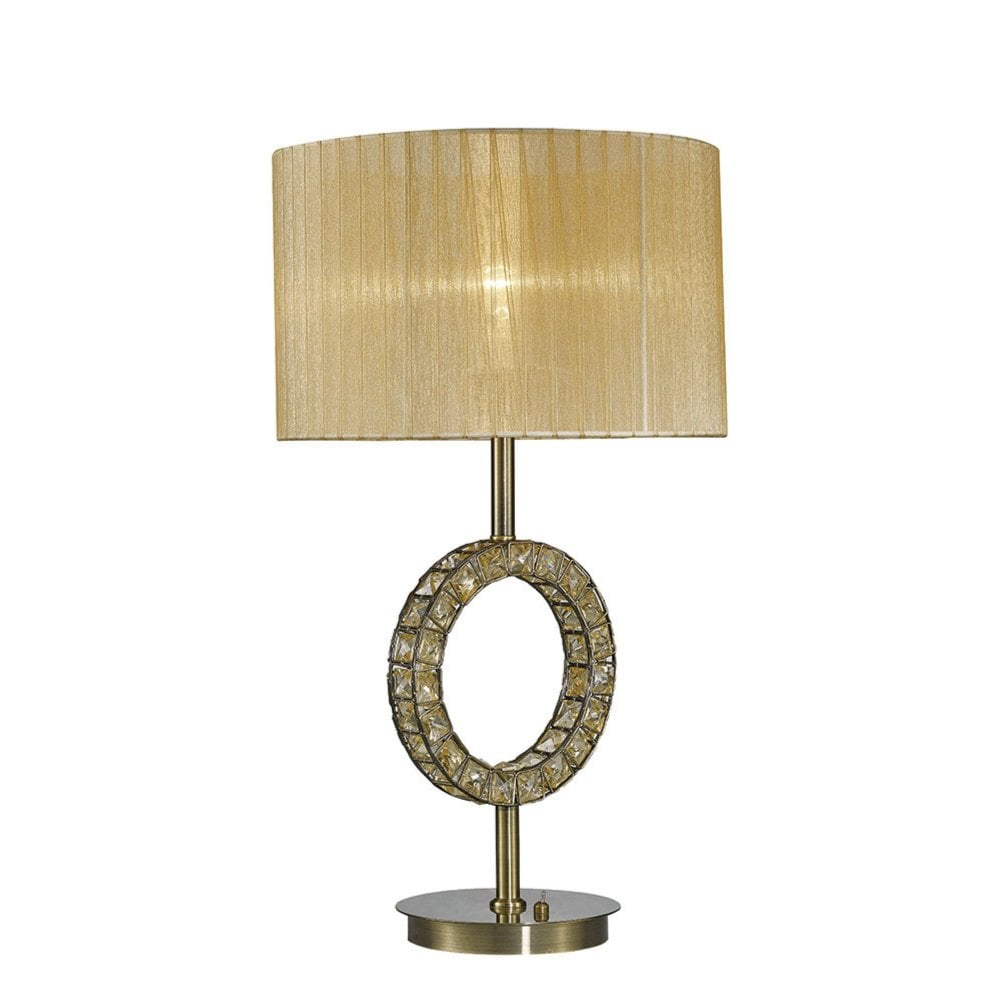 Florence Round Diyas Il31720 Florence Round Table Lamp With Soft Bronze Shade 1 Light Antique Brass Crystal