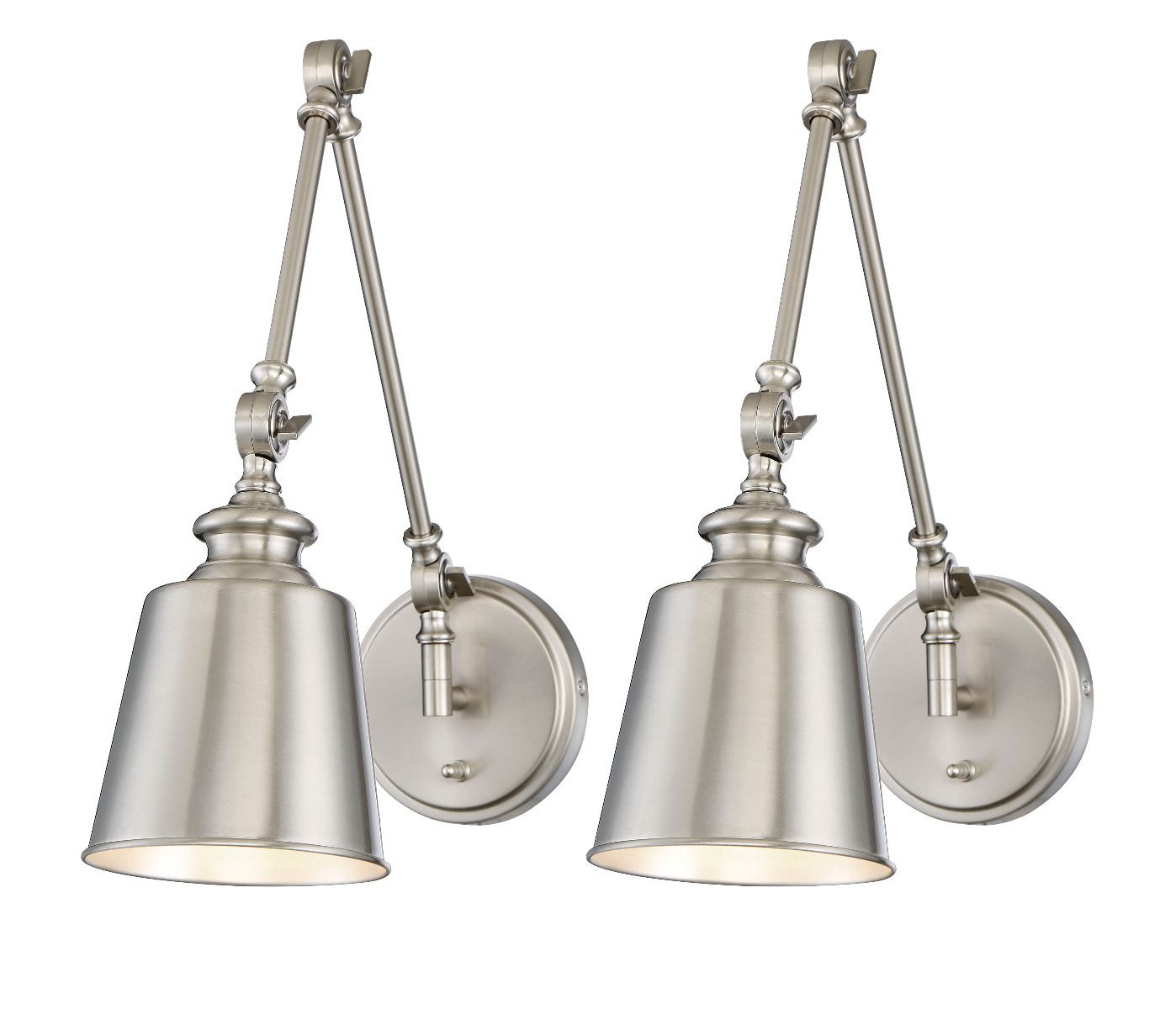 Swing Wall Lamp Trade Winds 1 Light Swing Arm Wall Lamp 2 Pack In Brushed Nickel