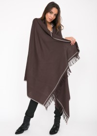 Shoreditch Merino Wool Shawl & Oversize Scarf Chocolate ...