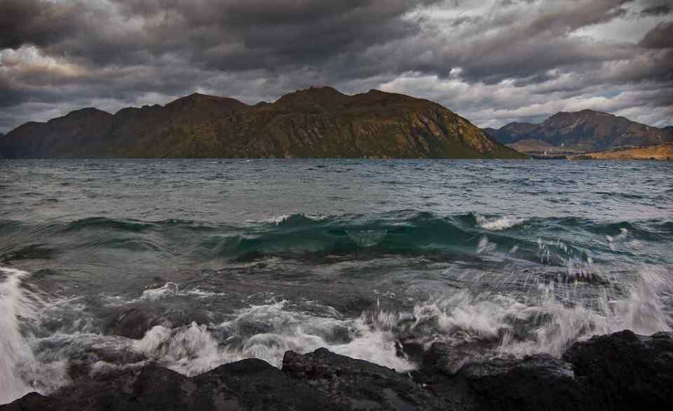 Waves in the evening on a stormy Lake Wanaka by Donald Lousley.