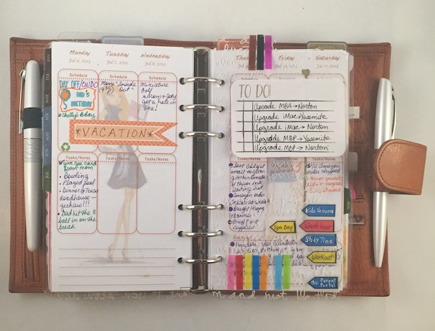 planners, custom inserts, color coding , stickers, stamps