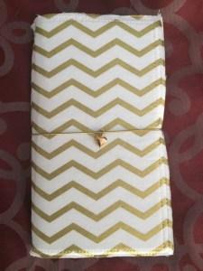 Cake Paperie Narrow travelers notebook, white & gold chevron fabric, fauxdori, cakedori