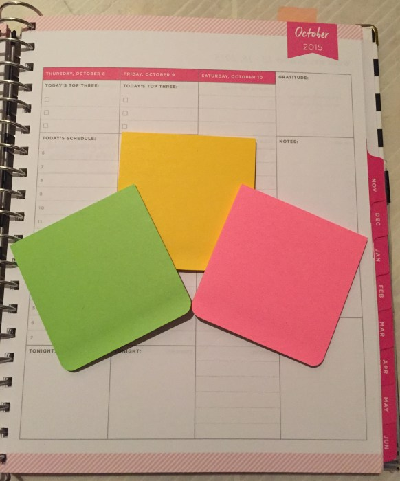 Day Designer, planner, schedule, task list, notes section, post-its