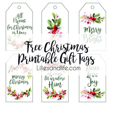 Christmas Gift Tag Printable Lilies and Life - Home Decor DIY