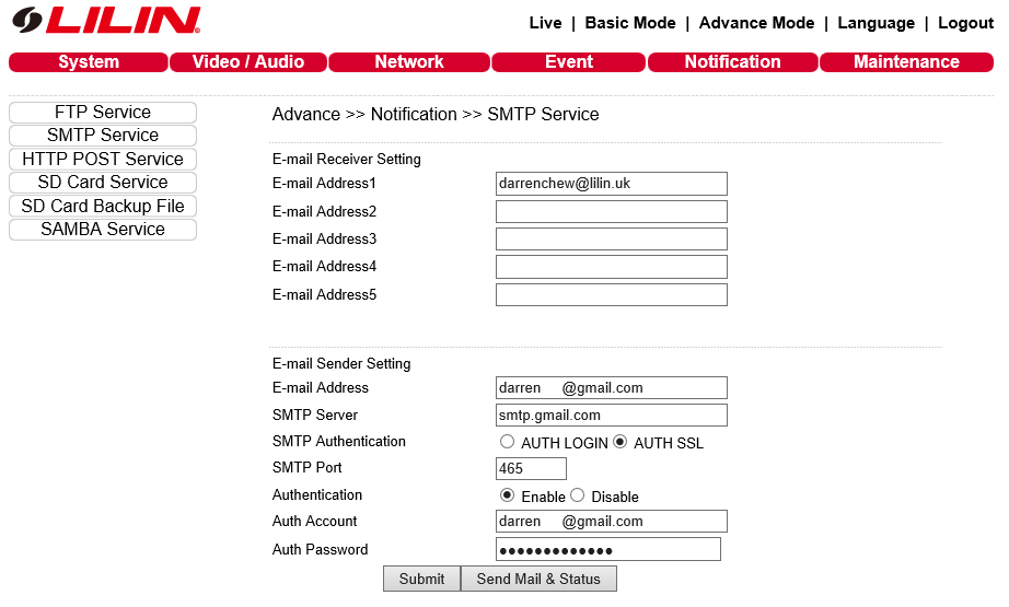 IP Camera SMTP Configuration using Gmail example \u2013 LILIN Technical