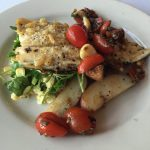4. PARMESAN & PINE NUT DUSTED IDAHO RAINBOW TROUT – topped rustic tomato and roasted garlic jam served atop a watercress, fire grilled corn and snap pea bundle