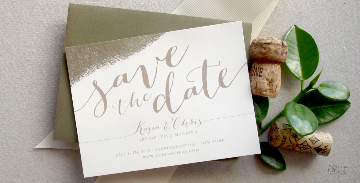 Save the Date | Calligraphy | Romantic | Neutral | Vineyard Wedding | New York | Kasia & Chris