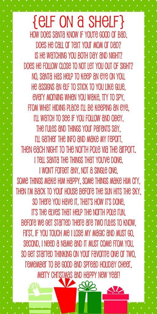 Elf on the Shelf Story - FREE Printable Poem - Lil\u0027 Luna