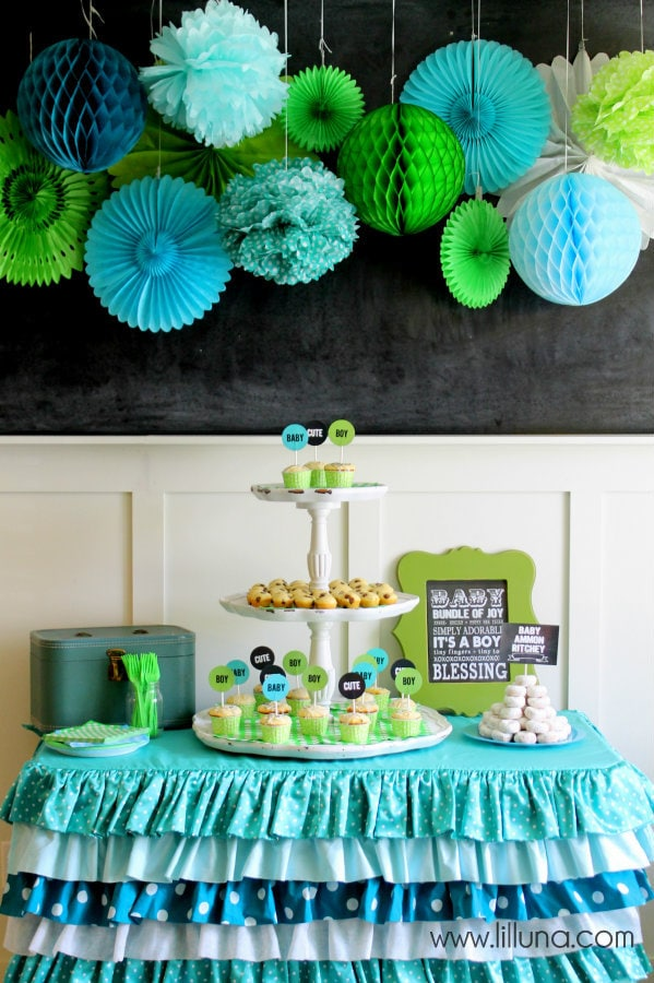 Aqua and Green Baby Shower - blue and green birthday party