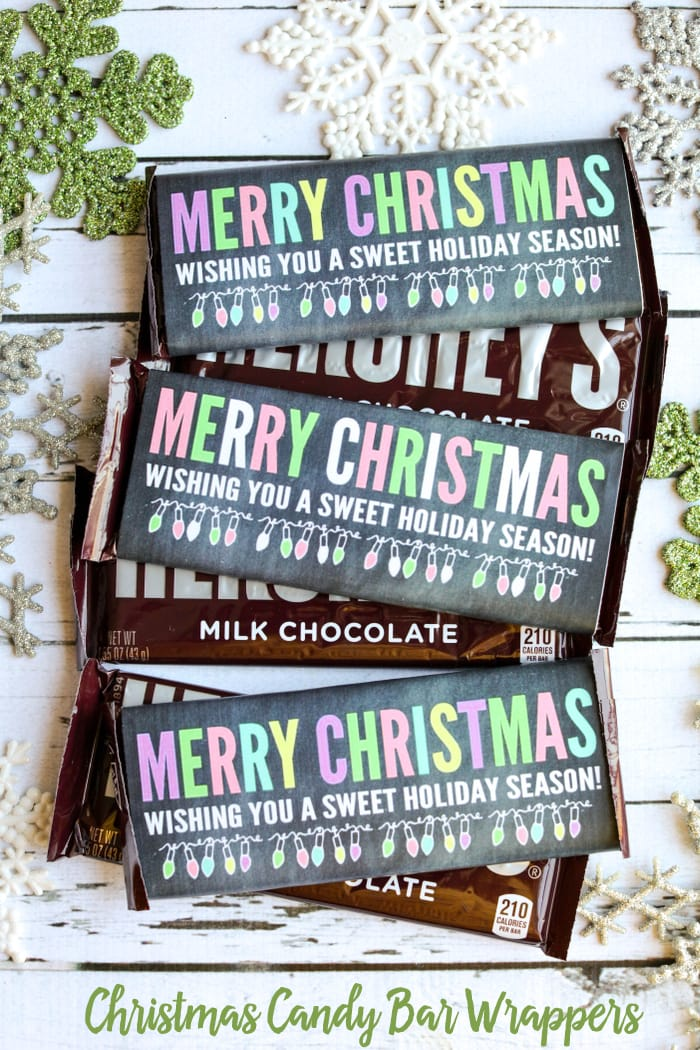 Merry Christmas Candy Bar Wrappers - hershey wrappers