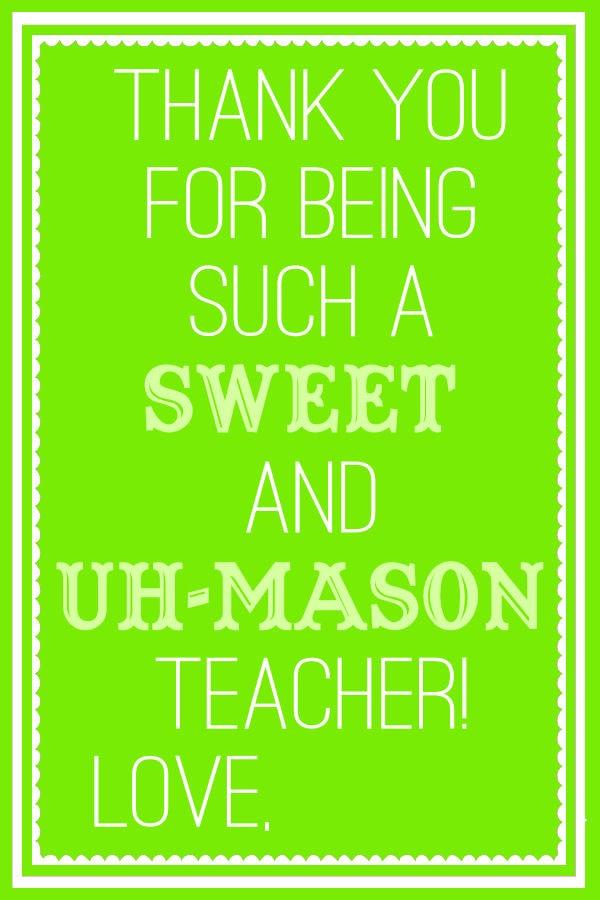 Sweet and Uh-Mason Teacher Gift - printable grocery lists