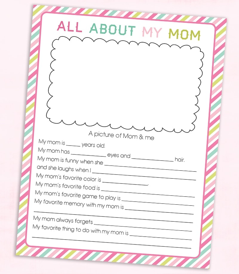 FREE Mother\u0027s Day Questionnaire Printable Lil\u0027 Luna