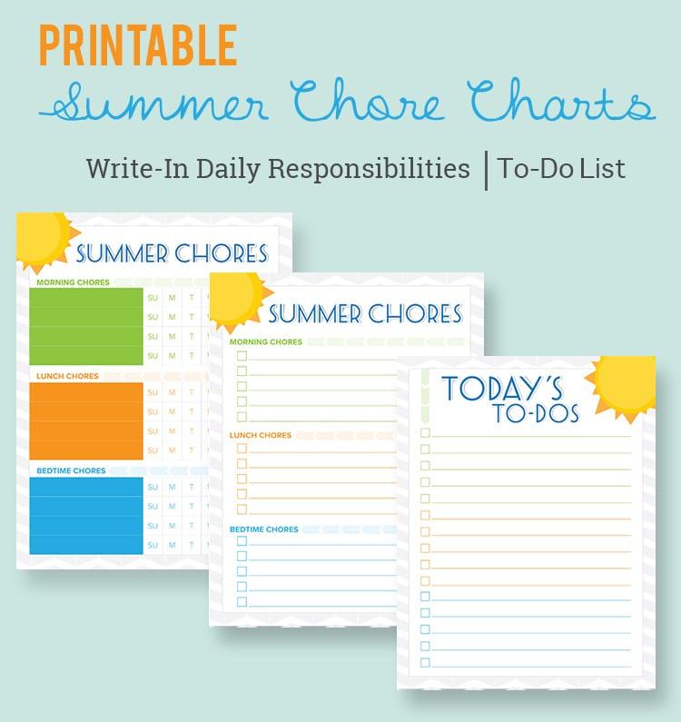 Free Printable Summer Chore Charts - Lil\u0027 Luna