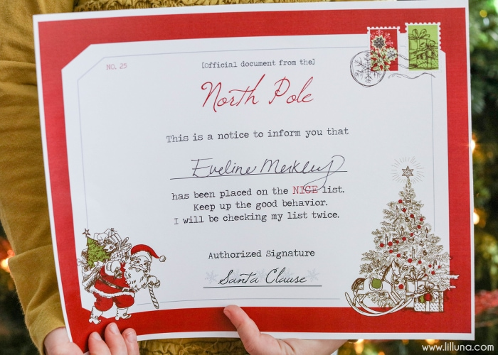 Santa\u0027s Nice List Certificate