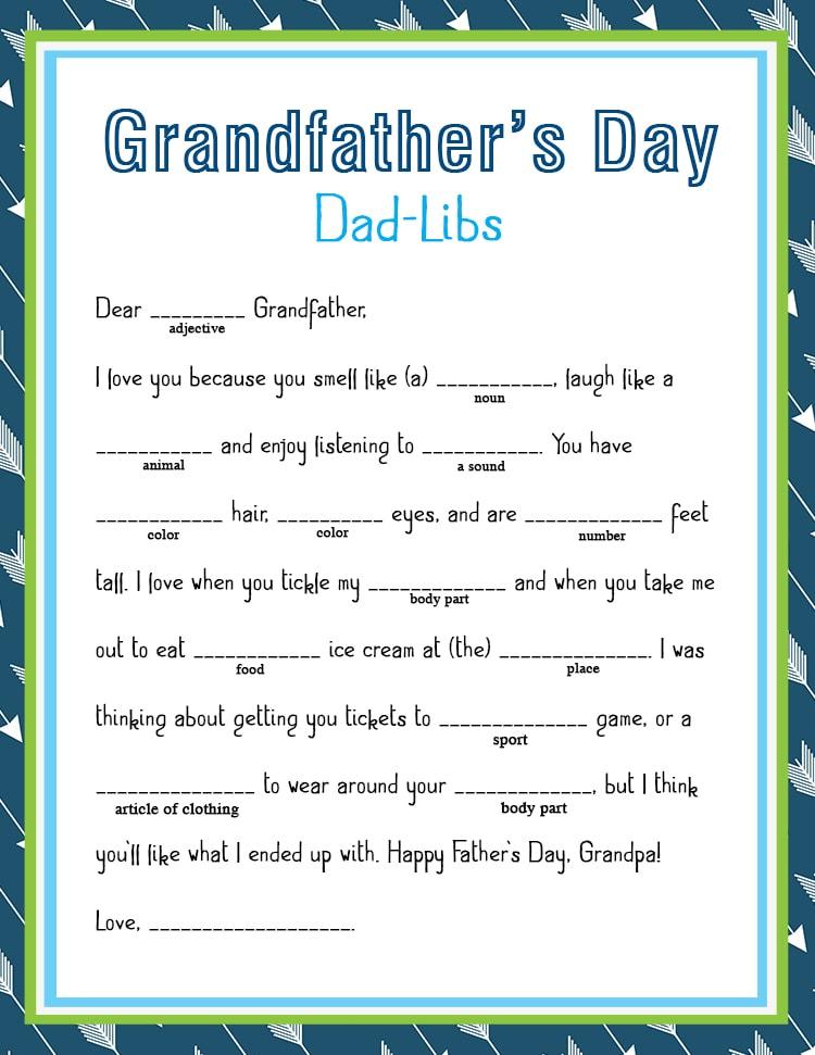 FREE Father\u0027s Day Dad-Lib Printable - Lil\u0027 Luna