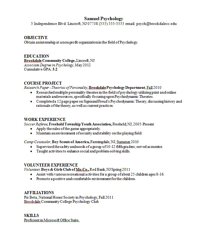 resume examples for psychology majors
