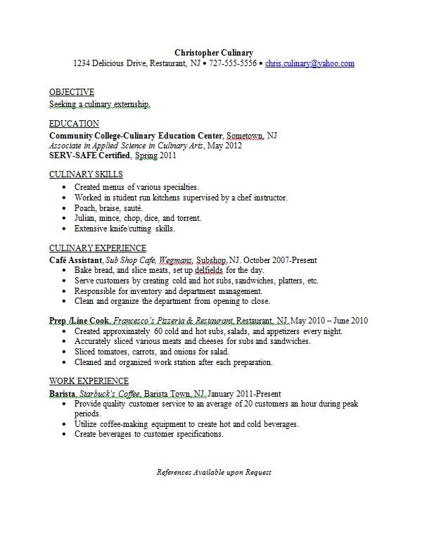 sample resume culinary student