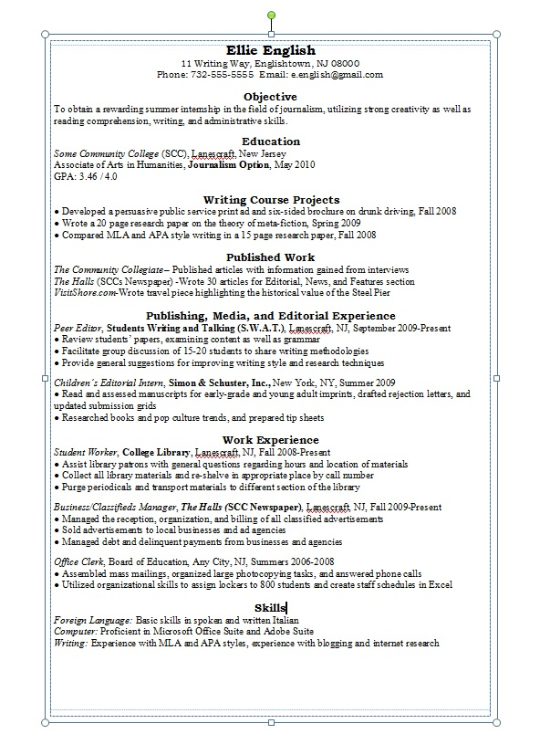 Writing A General Resume