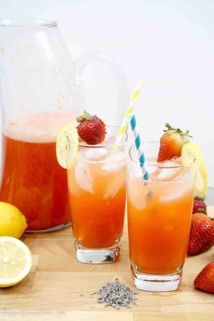 Sparkling Strawberry Lavender Lemonade -- This sparkling lemonade is light and refreshing on the palate, perfect for the summer. It can be enjoyed nonalcoholic or boozy! -- lilsweetspiceadvice.com