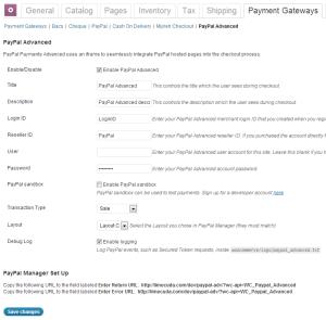 PayPal Advanced WooCommerce settings