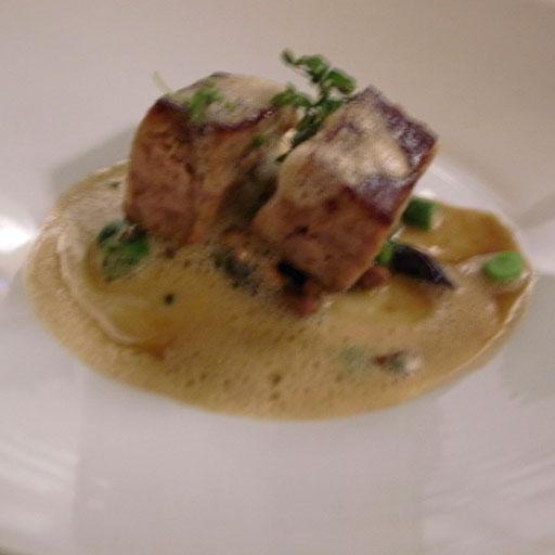 Crisy Confit of Quebec Porcelet: mousserons mushrooms, asparagus, foie gras jus