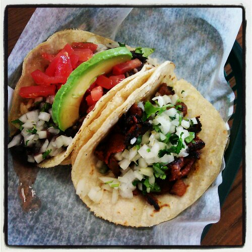 Veggie and al pastor tacos at Aguate Verde in Wilson Square