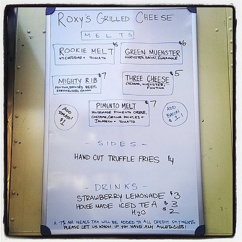 Menu at Roxy's Grilled Cheese