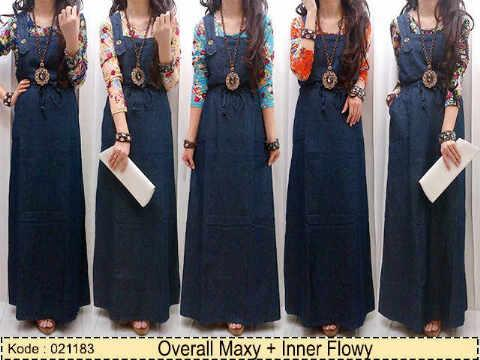 Baju Overall Jeans Dress With Inner Flowery
