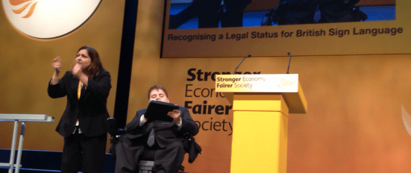 Greg Judge speaks at the Liberal Democrat conference
