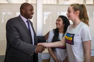 Jessica and Samina meeting Director of Policy Darius Mogaka Ogutu in Nairobi, Kenya.