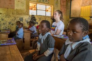 Jessica at Njathaini Primary School in the suburbs of Nairobi, Kenya.