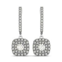 Buy Round Diamond Double Cushion Halo Drop Earrings in 14K