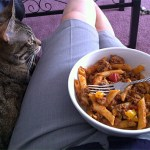 Enjoying lunch with my cat!
