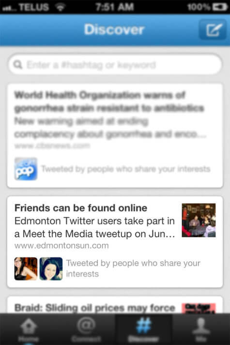 My column featured in my 'Discover' tab on Twitter