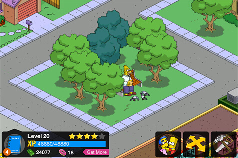 Grandpa Simpson feeding the birds in The Simpsons: Tapped Out.